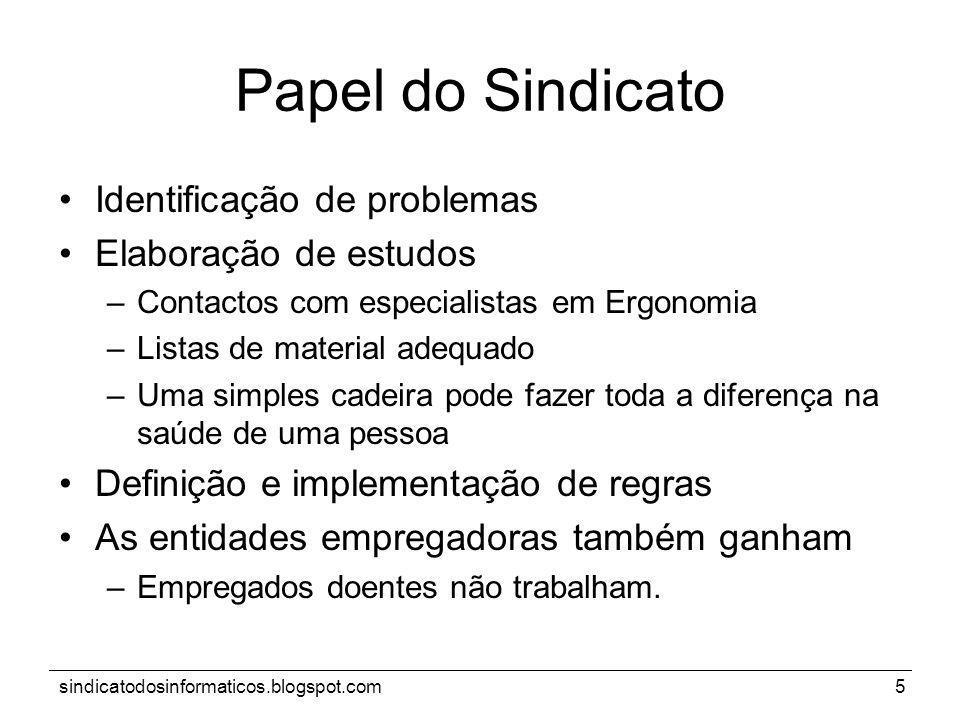 sindicatodosinformaticos.blogspot.com5 Papel do Sindicato Identificação de problemas Elaboração de estudos –Contactos com especialistas em Ergonomia –