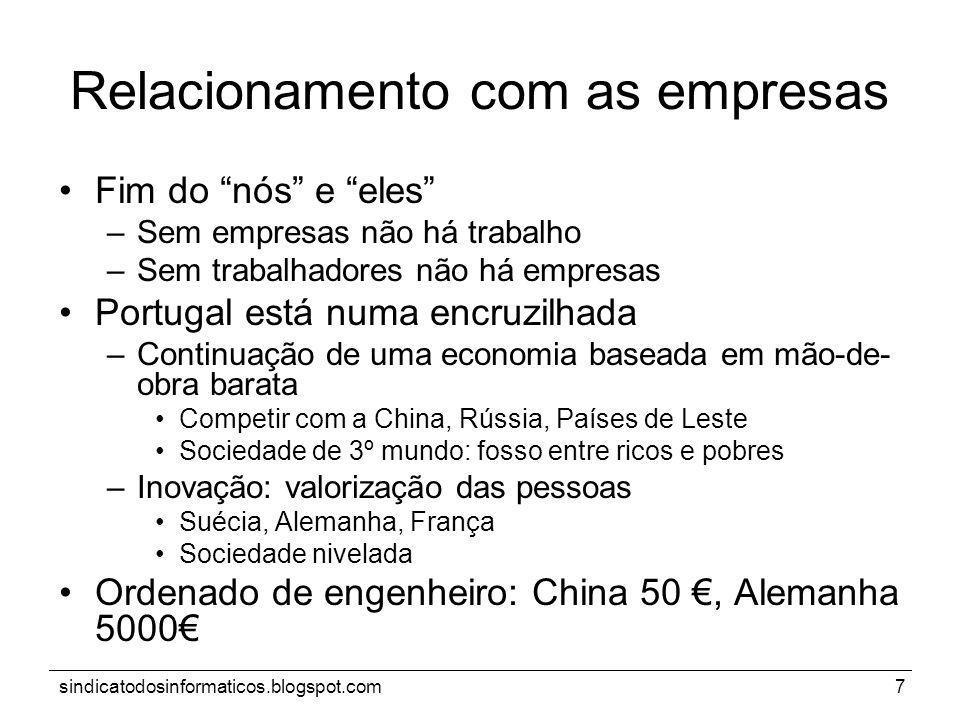 sindicatodosinformaticos.blogspot.com7 Relacionamento com as empresas Fim do nós e eles –Sem empresas não há trabalho –Sem trabalhadores não há empres