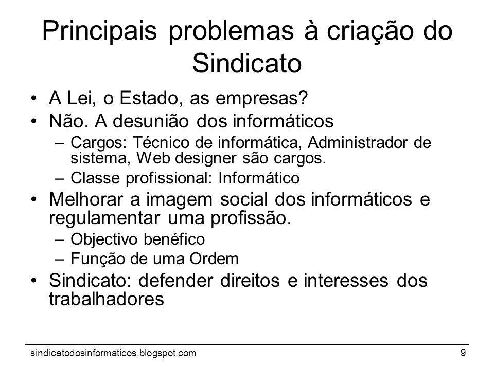 sindicatodosinformaticos.blogspot.com9 Principais problemas à criação do Sindicato A Lei, o Estado, as empresas? Não. A desunião dos informáticos –Car