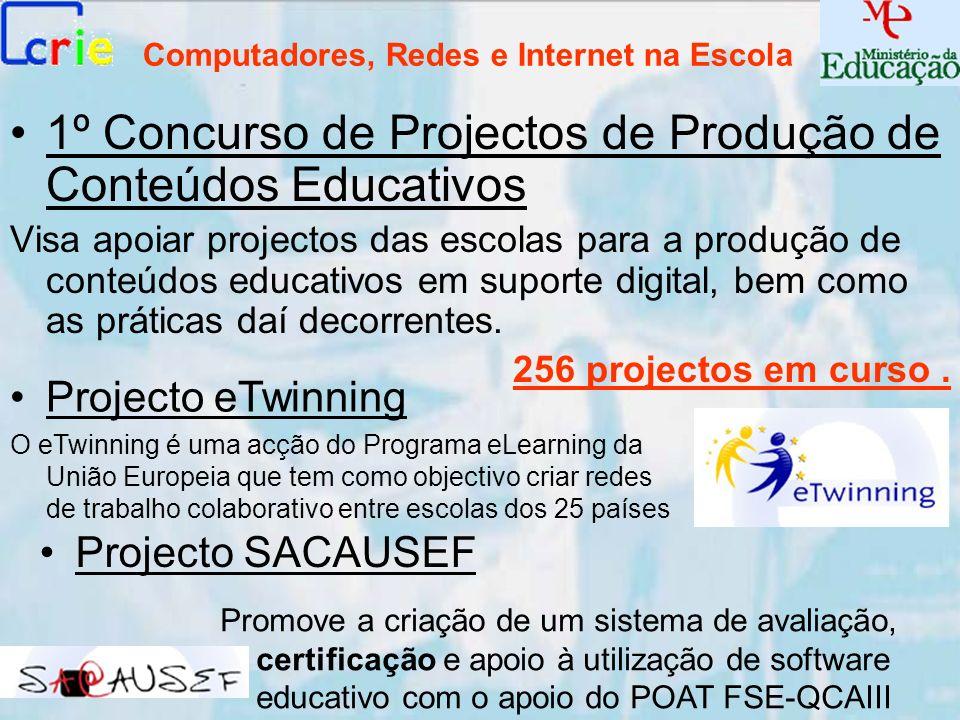 Computadores, Redes e Internet na Escola 1º Concurso de Projectos de Produção de Conteúdos Educativos Visa apoiar projectos das escolas para a produçã