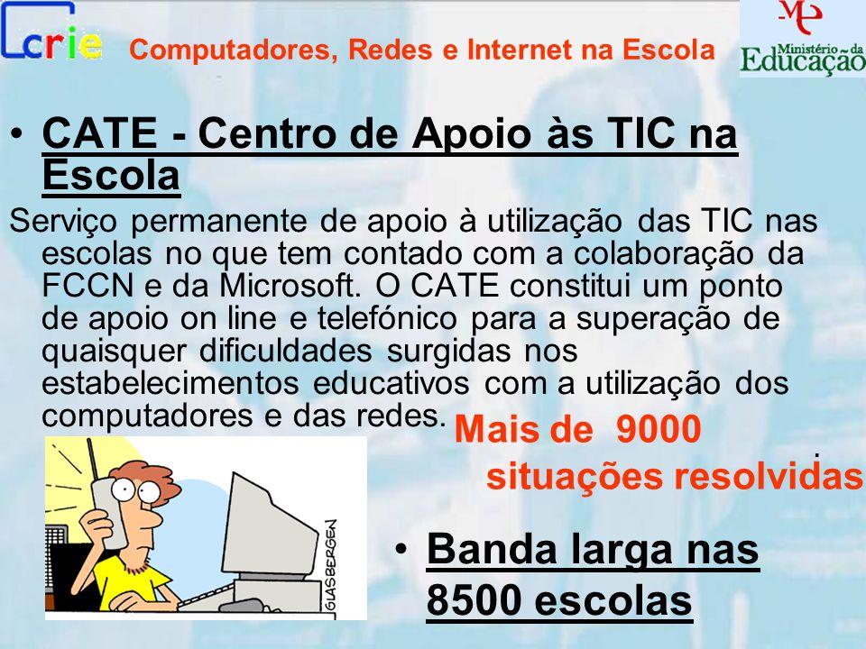 Computadores, Redes e Internet na Escola CATE - Centro de Apoio às TIC na Escola Serviço permanente de apoio à utilização das TIC nas escolas no que t