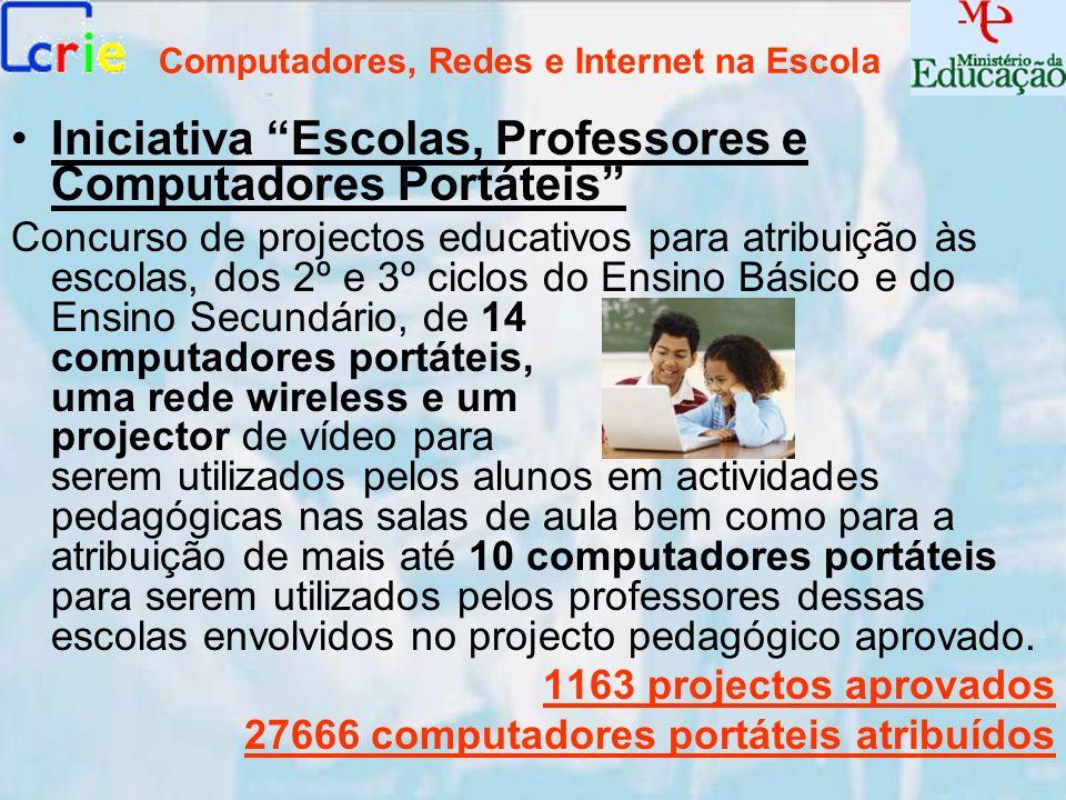 Computadores, Redes e Internet na Escola Iniciativa Escolas, Professores e Computadores Portáteis Concurso de projectos educativos para atribuição às