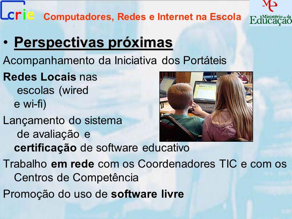 Computadores, Redes e Internet na Escola Perspectivas próximasPerspectivas próximas Acompanhamento da Iniciativa dos Portáteis Redes Locais nas escola