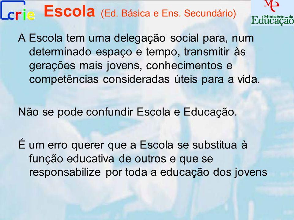 Escola (Ed. Básica e Ens. Secundário) A Escola tem uma delegação social para, num determinado espaço e tempo, transmitir às gerações mais jovens, conh