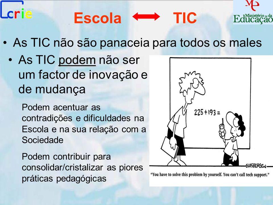 As TIC não são panaceia para todos os males Escola TIC podemAs TIC podem não ser um factor de inovação e de mudança Podem acentuar as contradições e d