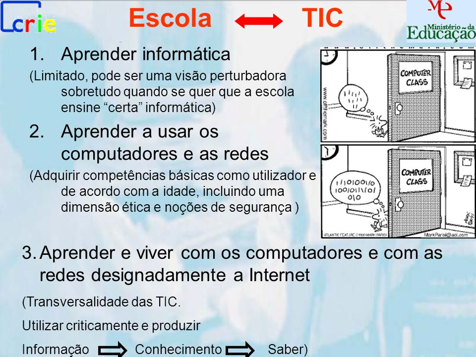 Escola TIC 1.Aprender informática (Limitado, pode ser uma visão perturbadora sobretudo quando se quer que a escola ensine certa informática) 2.Aprende