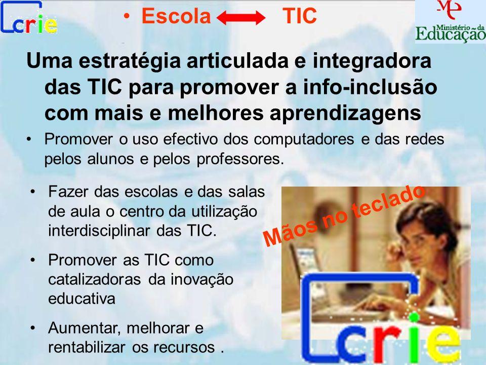 Uma estratégia articulada e integradora das TIC para promover a info-inclusão com mais e melhores aprendizagens Promover o uso efectivo dos computador