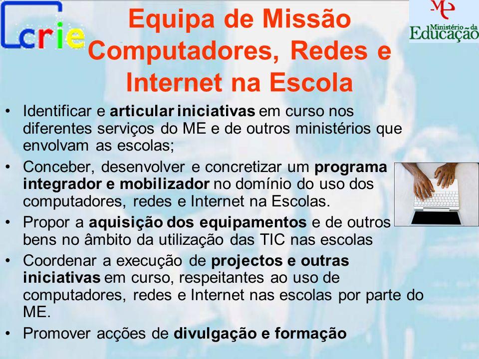 Equipa de Missão Computadores, Redes e Internet na Escola Identificar e articular iniciativas em curso nos diferentes serviços do ME e de outros minis