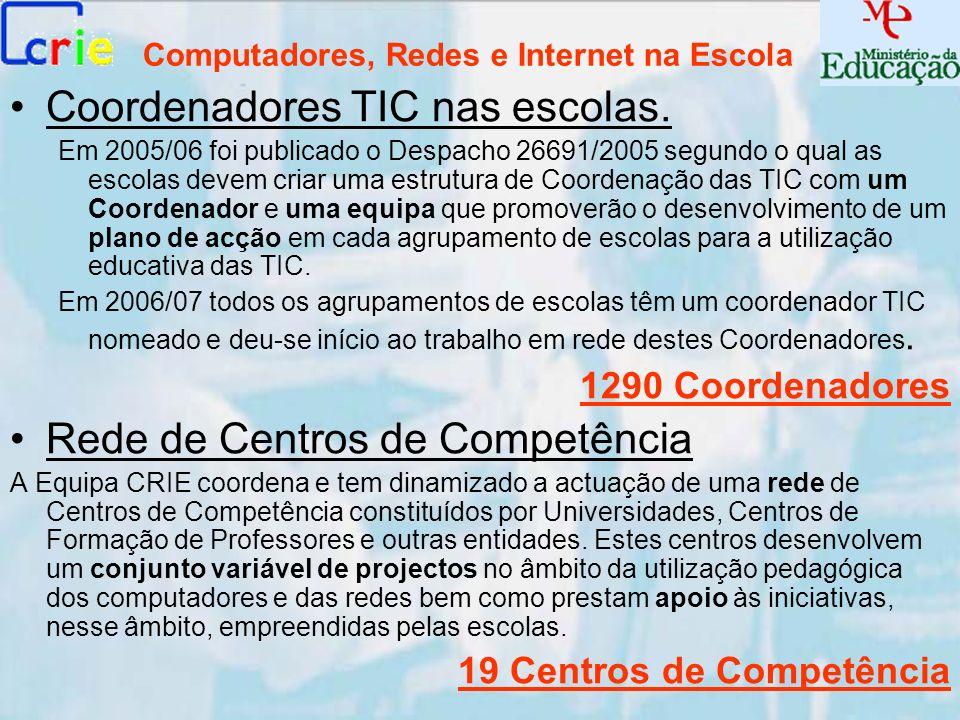 Computadores, Redes e Internet na Escola Coordenadores TIC nas escolas. Em 2005/06 foi publicado o Despacho 26691/2005 segundo o qual as escolas devem