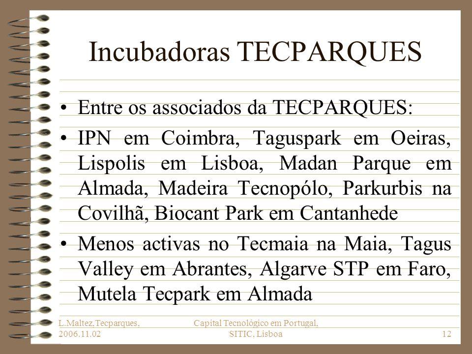 L.Maltez,Tecparques, 2006.11.02 Capital Tecnológico em Portugal, SITIC, Lisboa12 Incubadoras TECPARQUES Entre os associados da TECPARQUES: IPN em Coim