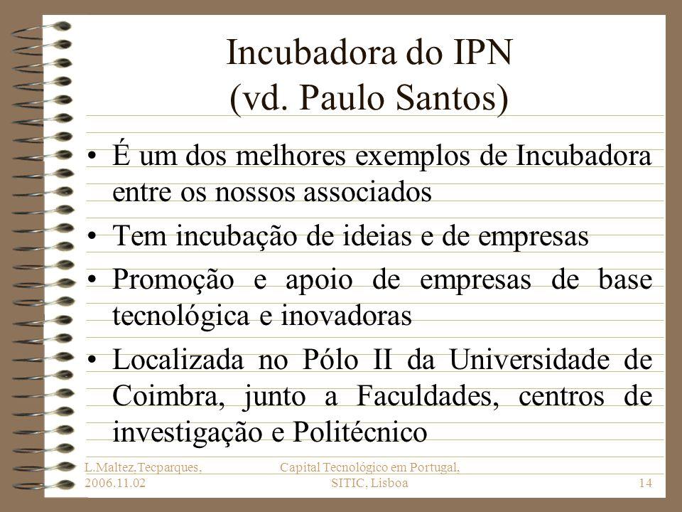 L.Maltez,Tecparques, 2006.11.02 Capital Tecnológico em Portugal, SITIC, Lisboa14 Incubadora do IPN (vd. Paulo Santos) É um dos melhores exemplos de In