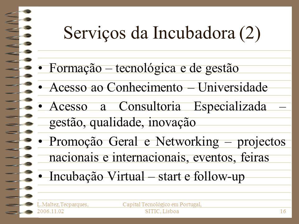 L.Maltez,Tecparques, 2006.11.02 Capital Tecnológico em Portugal, SITIC, Lisboa16 Serviços da Incubadora (2) Formação – tecnológica e de gestão Acesso