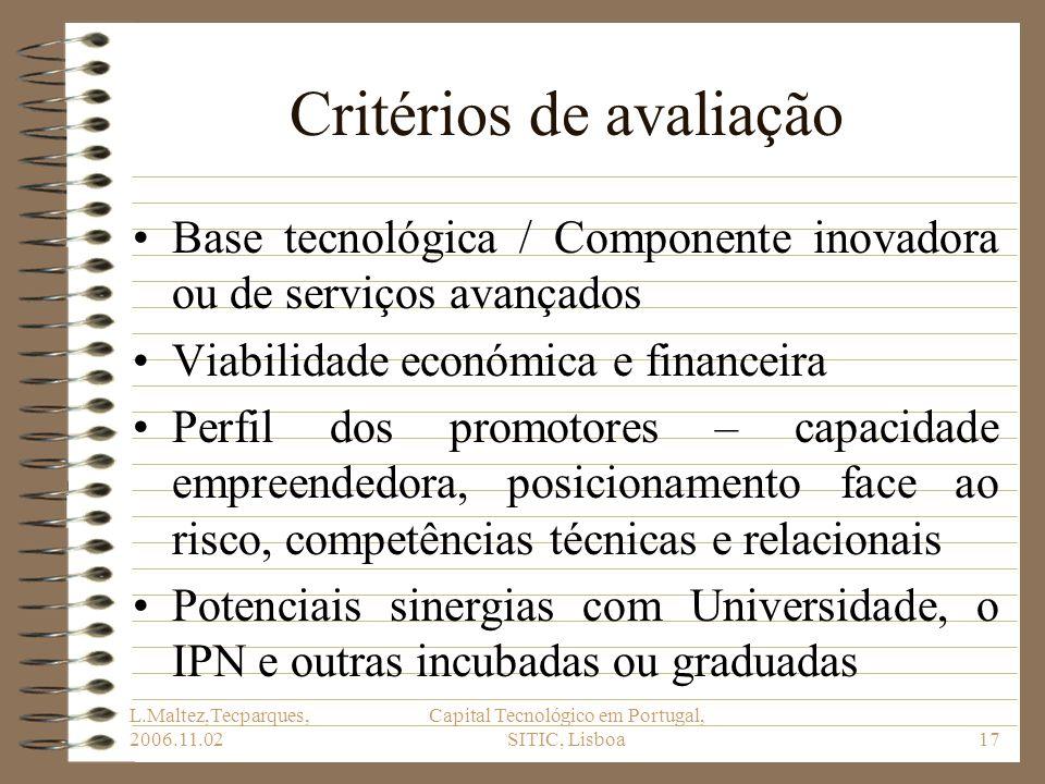 L.Maltez,Tecparques, 2006.11.02 Capital Tecnológico em Portugal, SITIC, Lisboa17 Critérios de avaliação Base tecnológica / Componente inovadora ou de