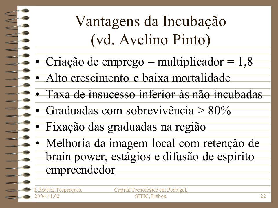 L.Maltez,Tecparques, 2006.11.02 Capital Tecnológico em Portugal, SITIC, Lisboa22 Vantagens da Incubação (vd. Avelino Pinto) Criação de emprego – multi