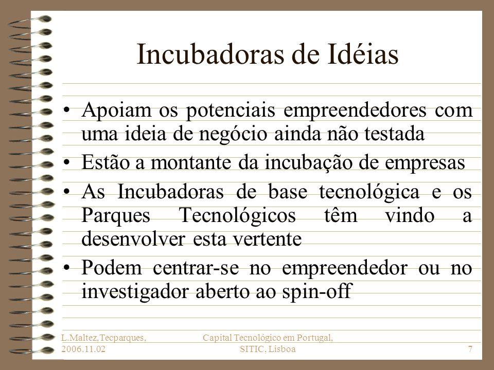 L.Maltez,Tecparques, 2006.11.02 Capital Tecnológico em Portugal, SITIC, Lisboa7 Incubadoras de Idéias Apoiam os potenciais empreendedores com uma idei
