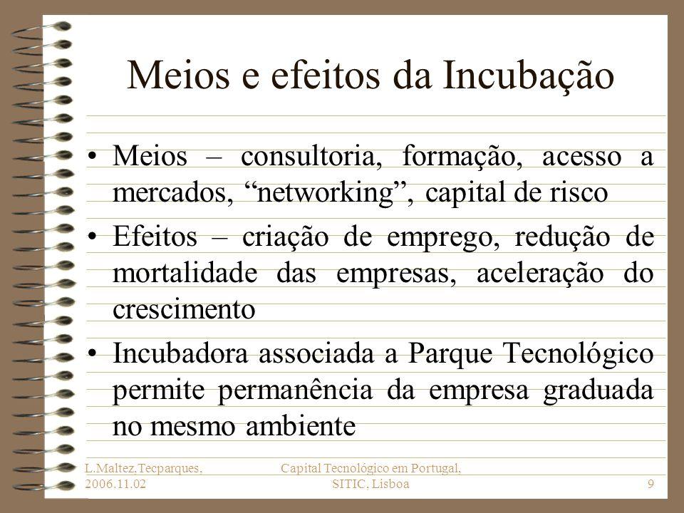 L.Maltez,Tecparques, 2006.11.02 Capital Tecnológico em Portugal, SITIC, Lisboa9 Meios e efeitos da Incubação Meios – consultoria, formação, acesso a m