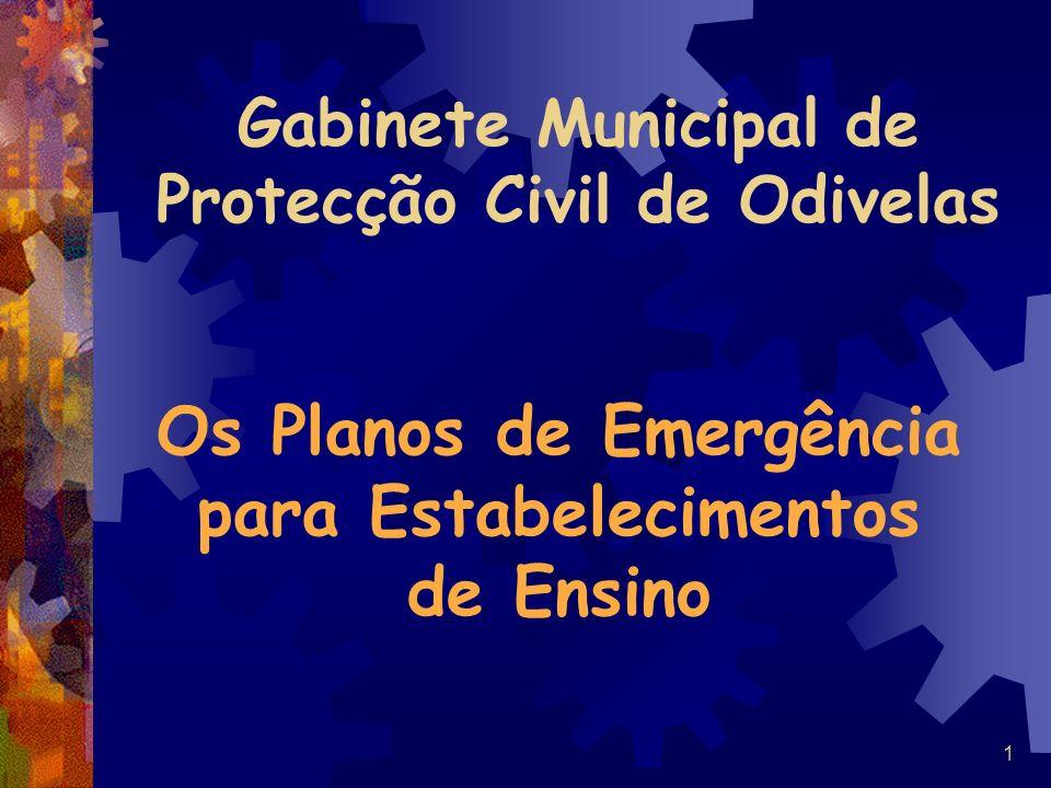 1 Gabinete Municipal de Protecção Civil de Odivelas Os Planos de Emergência para Estabelecimentos de Ensino