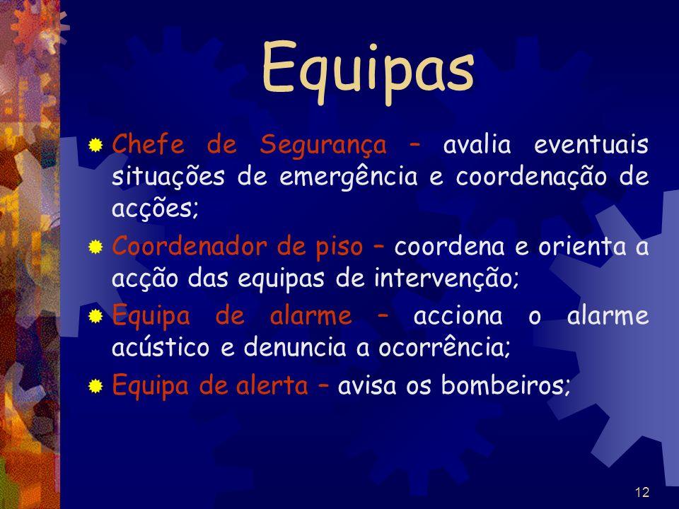 12 Equipas Chefe de Segurança – avalia eventuais situações de emergência e coordenação de acções; Coordenador de piso – coordena e orienta a acção das