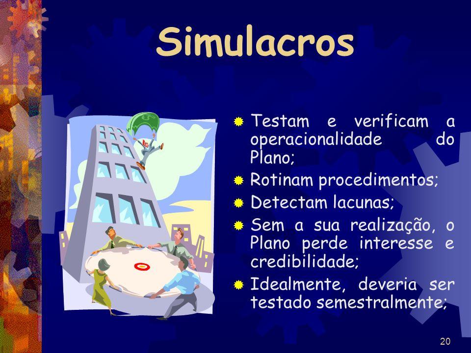 20 Simulacros Testam e verificam a operacionalidade do Plano; Rotinam procedimentos; Detectam lacunas; Sem a sua realização, o Plano perde interesse e