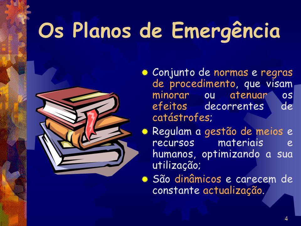 4 Os Planos de Emergência Conjunto de normas e regras de procedimento, que visam minorar ou atenuar os efeitos decorrentes de catástrofes; Regulam a g