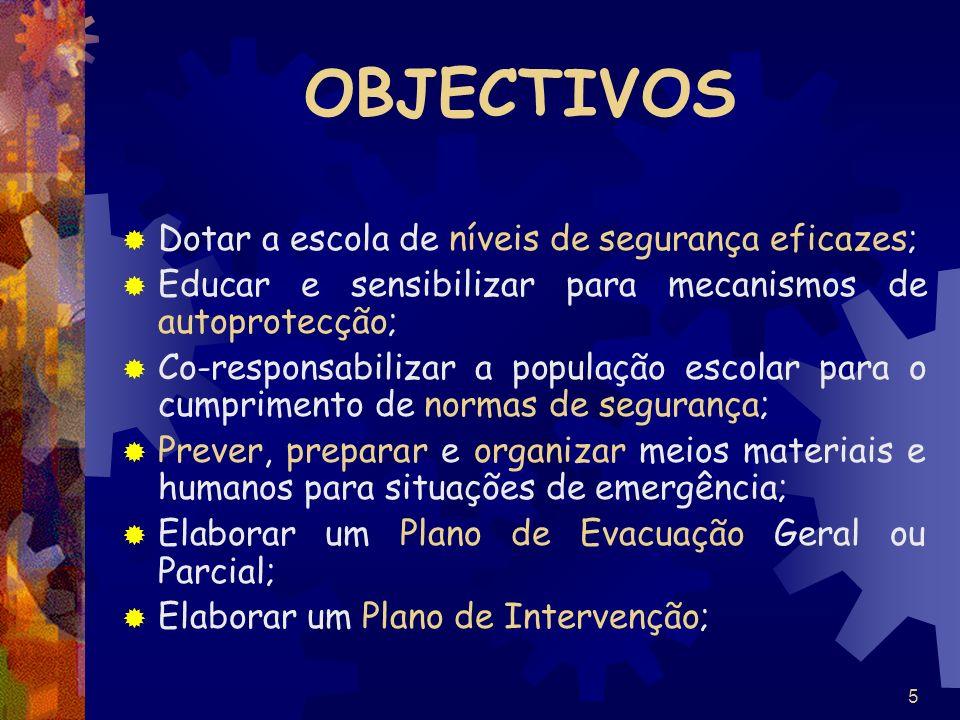 5 OBJECTIVOS Dotar a escola de níveis de segurança eficazes; Educar e sensibilizar para mecanismos de autoprotecção; Co-responsabilizar a população es