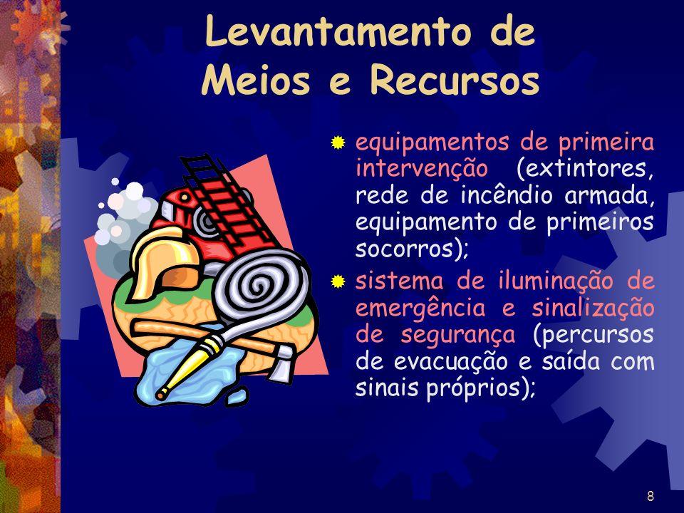 8 Levantamento de Meios e Recursos equipamentos de primeira intervenção (extintores, rede de incêndio armada, equipamento de primeiros socorros); sist