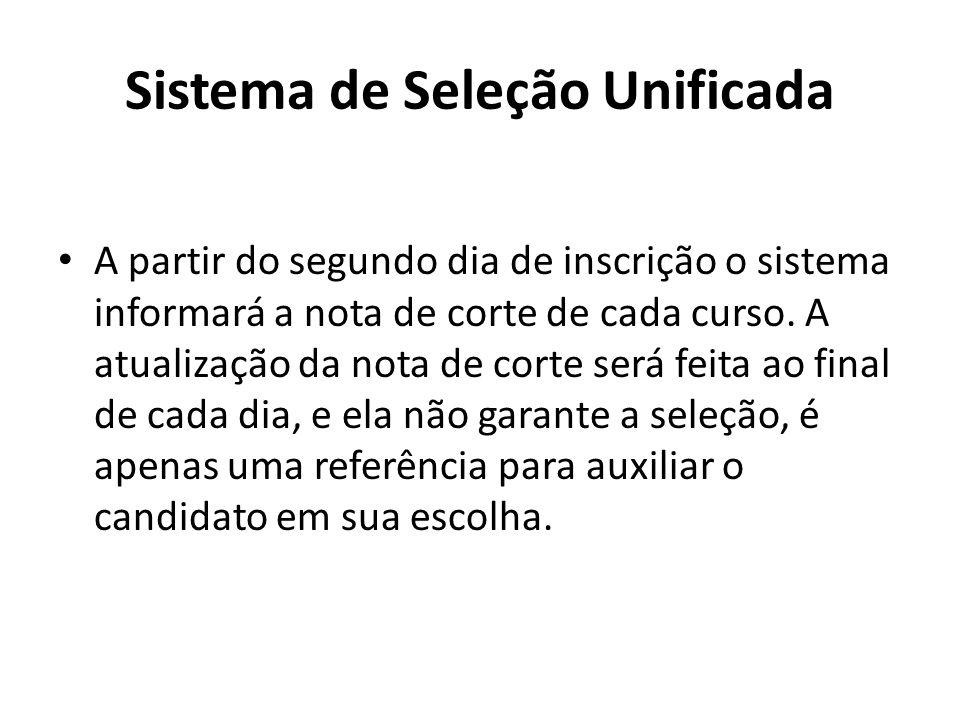 Sistema de Seleção Unificada A partir do segundo dia de inscrição o sistema informará a nota de corte de cada curso.