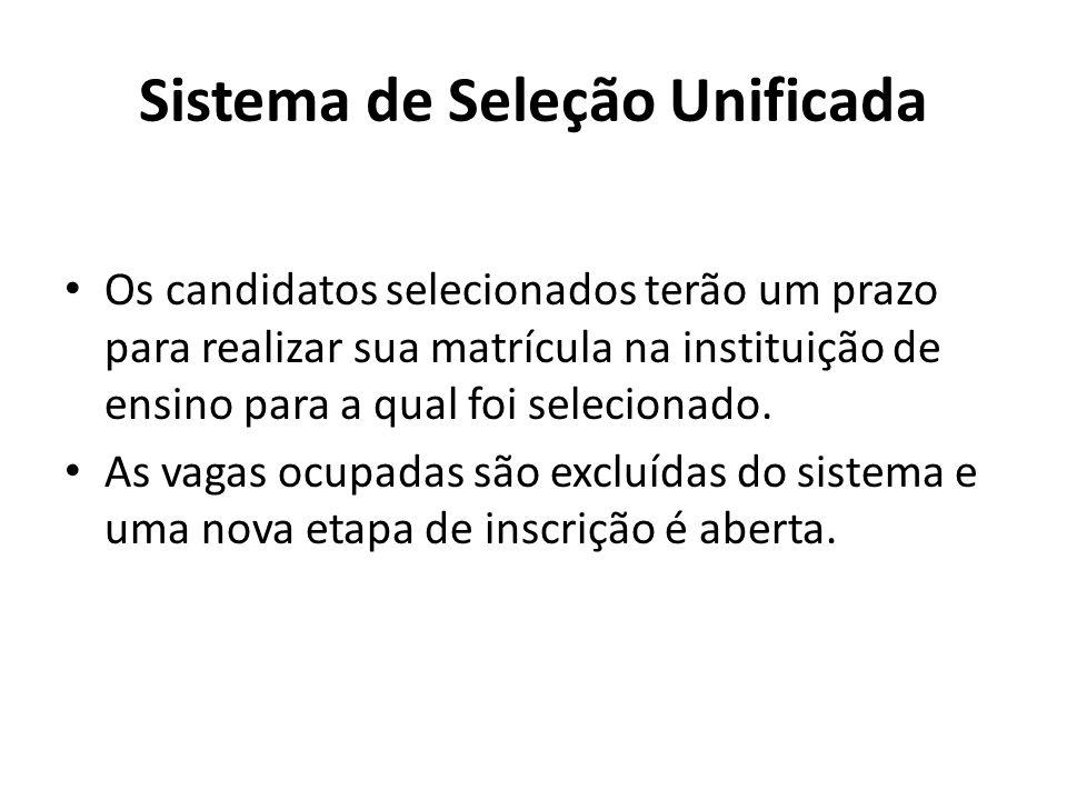 Sistema de Seleção Unificada Os candidatos selecionados terão um prazo para realizar sua matrícula na instituição de ensino para a qual foi selecionado.