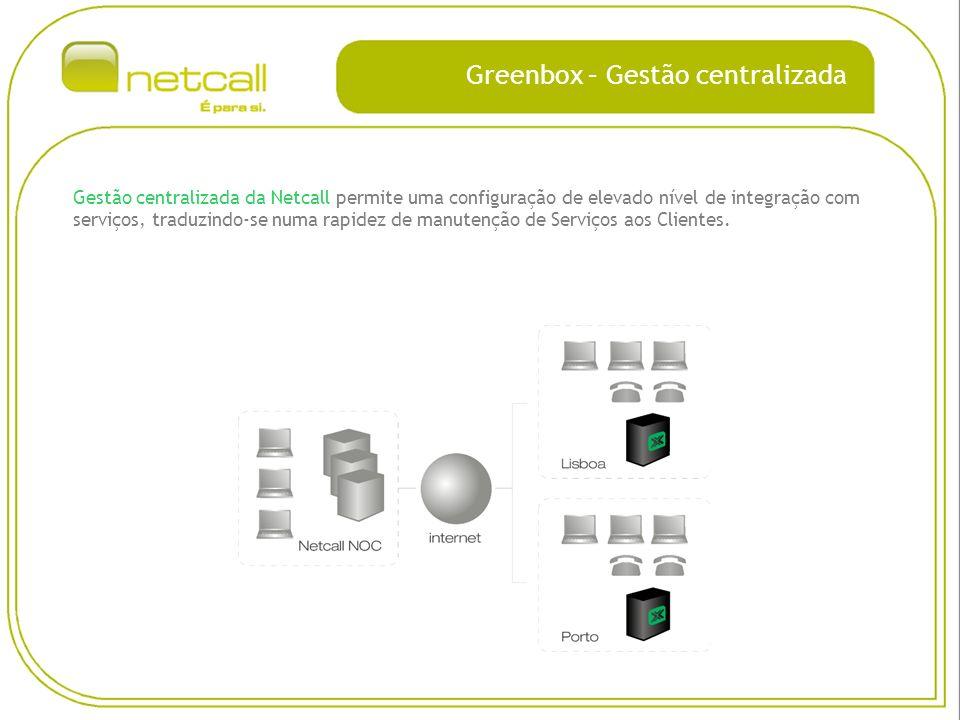Greenbox – Gestão centralizada Gestão centralizada da Netcall permite uma configuração de elevado nível de integração com serviços, traduzindo-se numa rapidez de manutenção de Serviços aos Clientes.