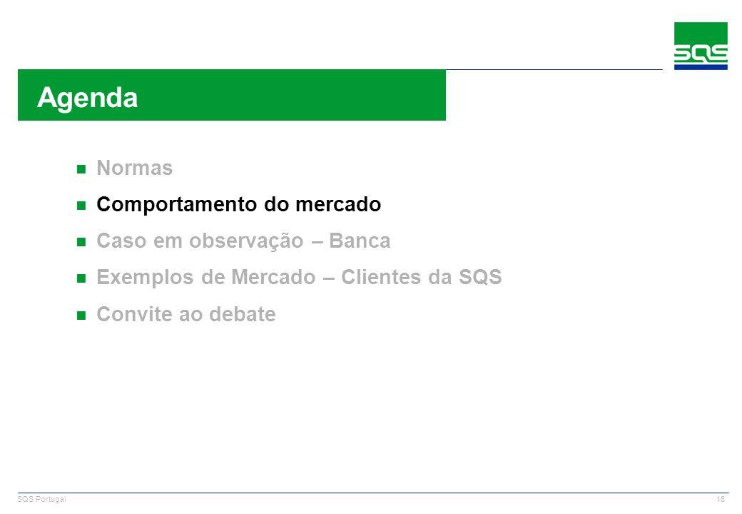 16 SQS Portugal n Normas n Comportamento do mercado n Caso em observação – Banca n Exemplos de Mercado – Clientes da SQS n Convite ao debate Agenda