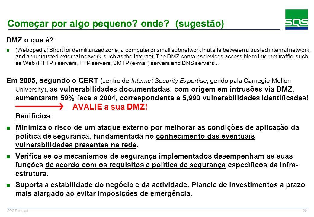 20 SQS Portugal Começar por algo pequeno? onde? (sugestão) DMZ o que é? n (Webopedia) Short for demilitarized zone, a computer or small subnetwork tha