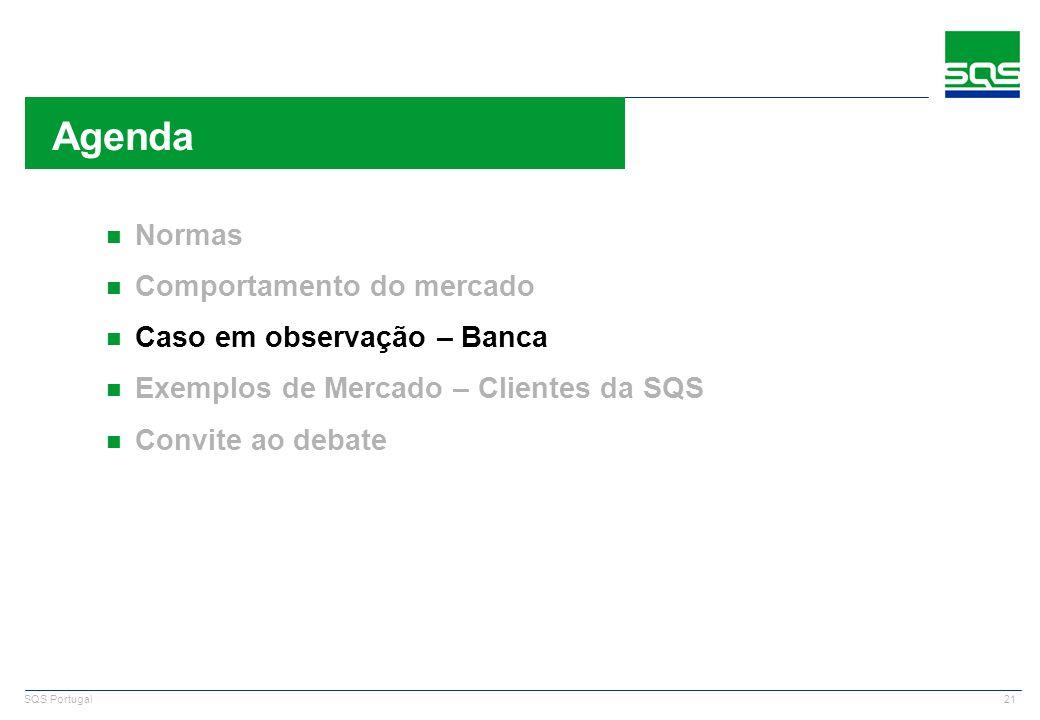 21 SQS Portugal n Normas n Comportamento do mercado n Caso em observação – Banca n Exemplos de Mercado – Clientes da SQS n Convite ao debate Agenda