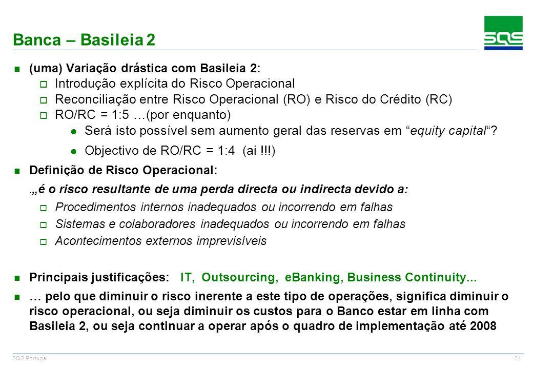 24 SQS Portugal Banca – Basileia 2 n (uma) Variação drástica com Basileia 2: o Introdução explícita do Risco Operacional o Reconciliação entre Risco O
