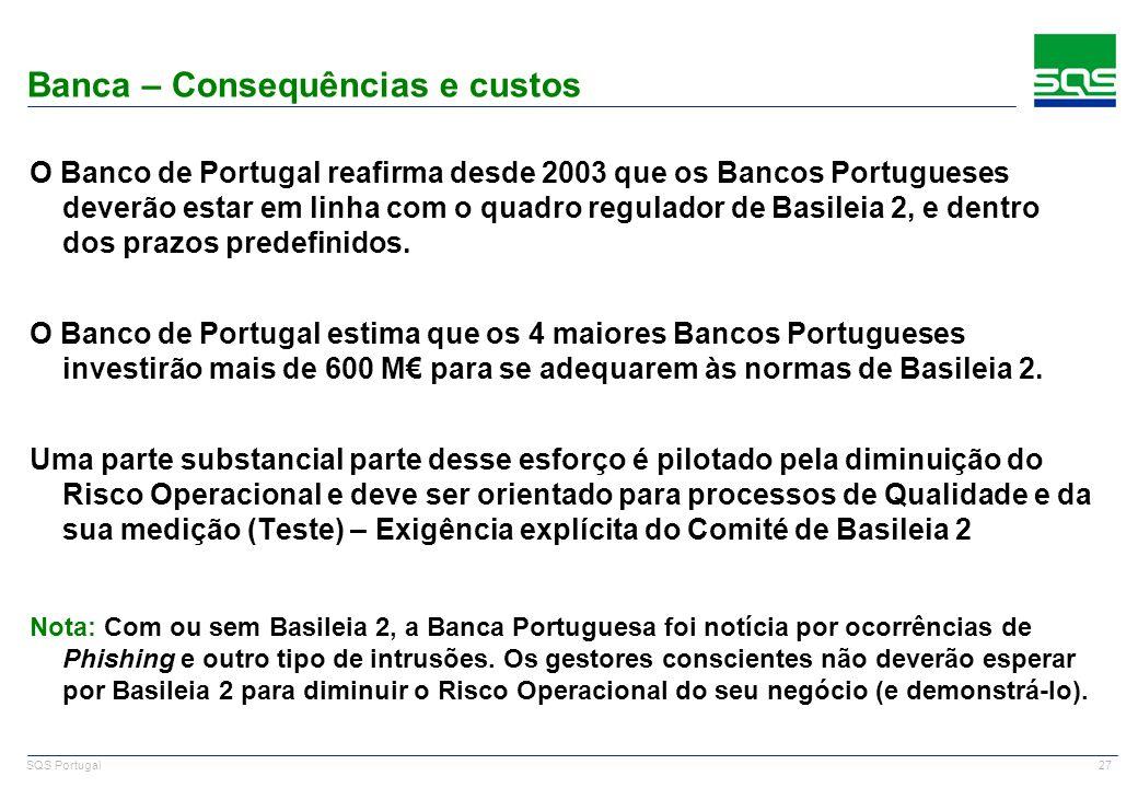 27 SQS Portugal O Banco de Portugal reafirma desde 2003 que os Bancos Portugueses deverão estar em linha com o quadro regulador de Basileia 2, e dentr