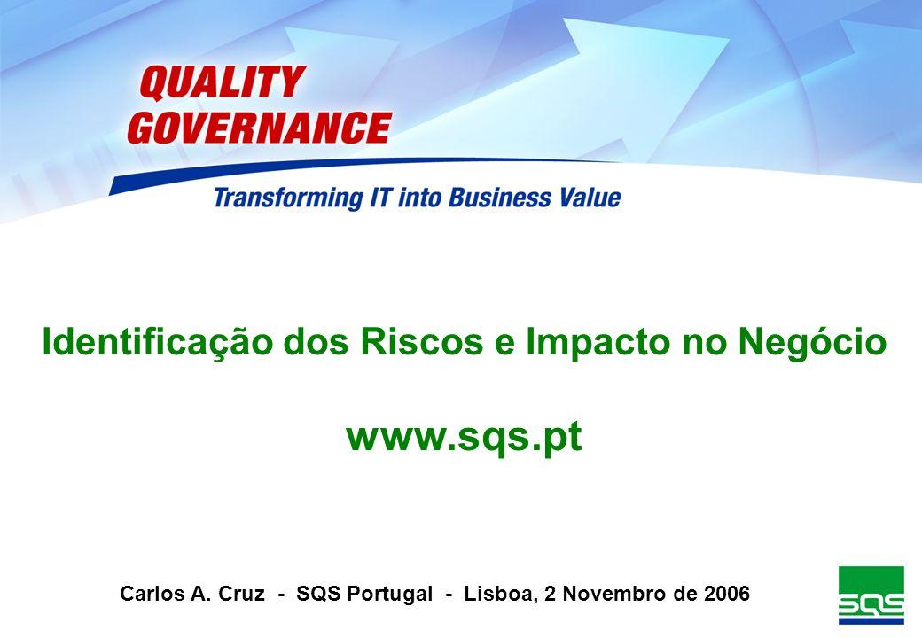 Identificação dos Riscos e Impacto no Negócio www.sqs.pt Carlos A. Cruz - SQS Portugal - Lisboa, 2 Novembro de 2006