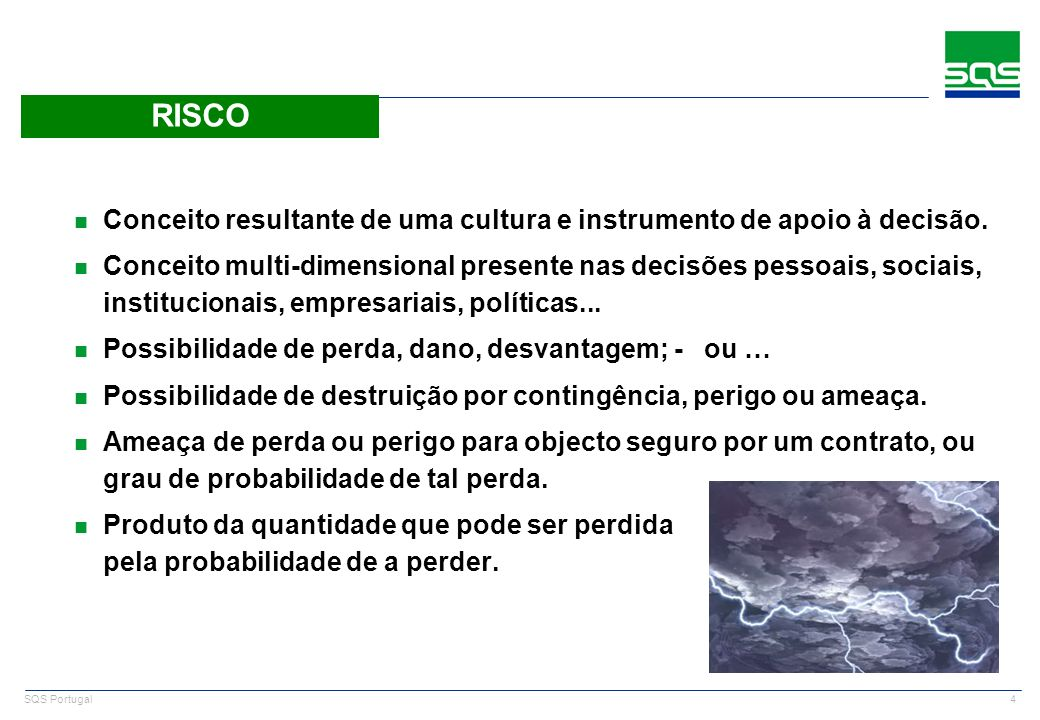 15 SQS Portugal n ISO/IEC 17799:2005, is the international standard Code of Practice for Information Security Management n Relationship to ISO 27001: l ISO 27001 defines the requirements for an Information Security Management System (ISMS), in turn using ISO 17799 to indicate suitable information security controls within the ISMS n It lays out a well structured set of controls to address information security risks, covering confidentiality, integrity and availability aspects.
