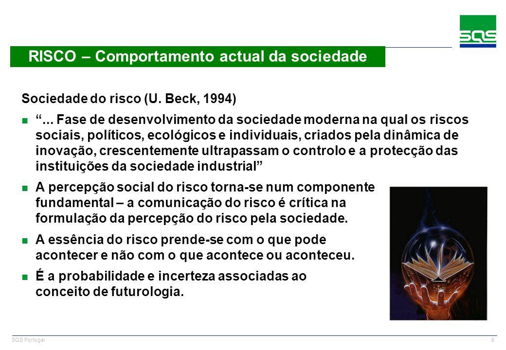 6 SQS Portugal RISCO – Comportamento actual da sociedade Sociedade do risco (U. Beck, 1994) n... Fase de desenvolvimento da sociedade moderna na qual