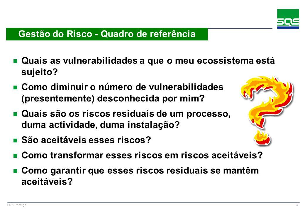 8 SQS Portugal Gestão do Risco - Quadro de referência n Quais as vulnerabilidades a que o meu ecossistema está sujeito? n Como diminuir o número de vu
