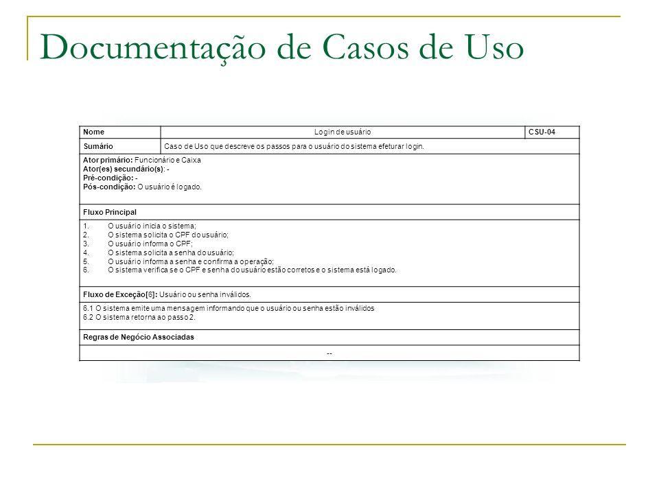 Documentação de Casos de Uso NomeLogin de usuárioCSU-04 SumárioCaso de Uso que descreve os passos para o usuário do sistema efeturar login. Ator primá