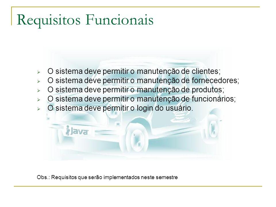 Requisitos Funcionais O sistema deve permitir o manutenção de clientes; O sistema deve permitir o manutenção de fornecedores; O sistema deve permitir