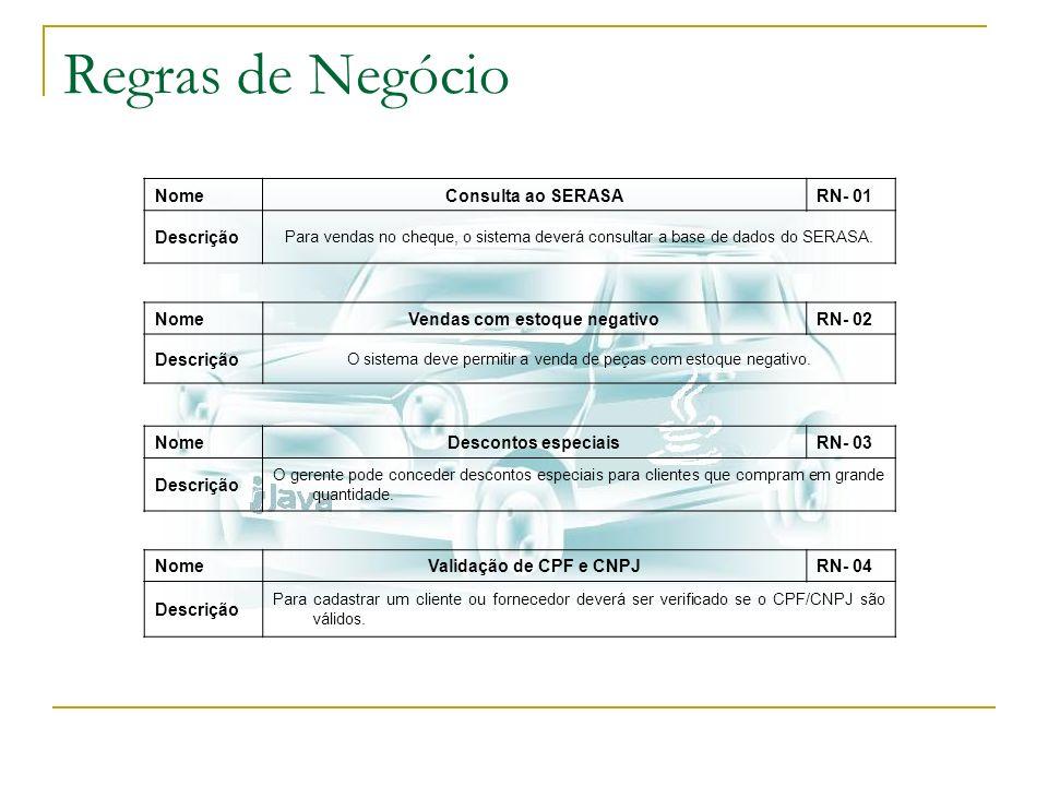 Regras de Negócio NomeConsulta ao SERASARN- 01 Descrição Para vendas no cheque, o sistema deverá consultar a base de dados do SERASA. NomeVendas com e