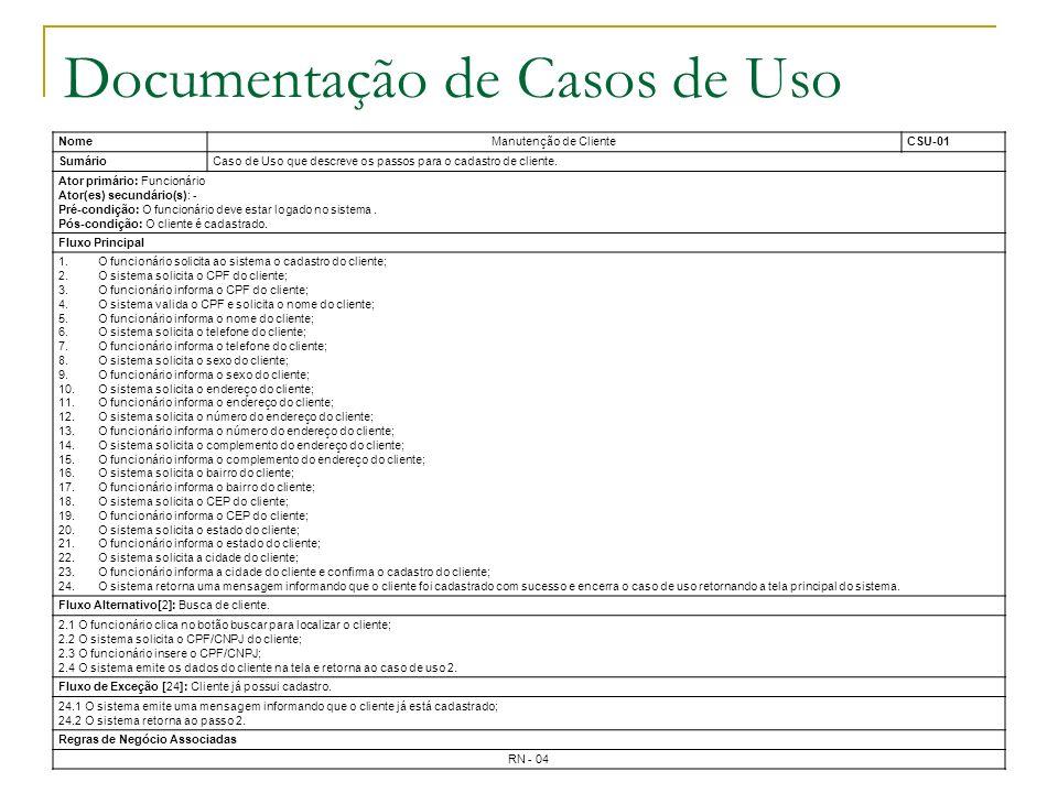 Documentação de Casos de Uso NomeManutenção de ClienteCSU-01 SumárioCaso de Uso que descreve os passos para o cadastro de cliente. Ator primário: Func