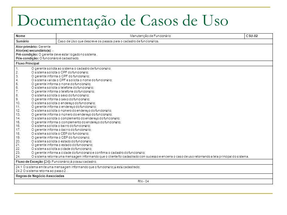 Documentação de Casos de Uso NomeManutenção de FuncionárioCSU-02 SumárioCaso de Uso que descreve os passos para o cadastro de funcion á rios. Ator pri