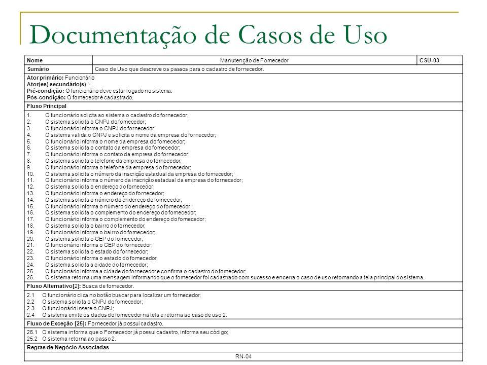 Documentação de Casos de Uso NomeManutenção de FornecedorCSU-03 SumárioCaso de Uso que descreve os passos para o cadastro de fornecedor. Ator primário