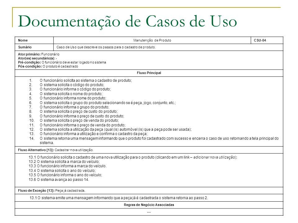 Documentação de Casos de Uso NomeManutenção de ProdutoCSU-04 SumárioCaso de Uso que descreve os passos para o cadastro de produto. Ator primário: Func