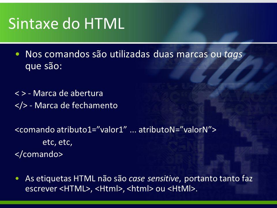 Sintaxe do HTML Nos comandos são utilizadas duas marcas ou tags que são: - Marca de abertura - Marca de fechamento etc, As etiquetas HTML não são case