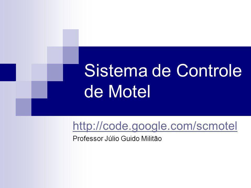 Sistema de Controle de Motel http://code.google.com/scmotel Professor Júlio Guido Militão