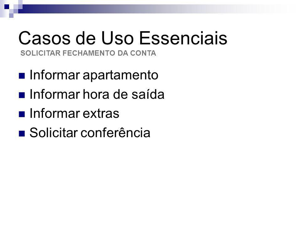 Casos de Uso Essenciais Informar apartamento Informar hora de saída Informar extras Solicitar conferência SOLICITAR FECHAMENTO DA CONTA