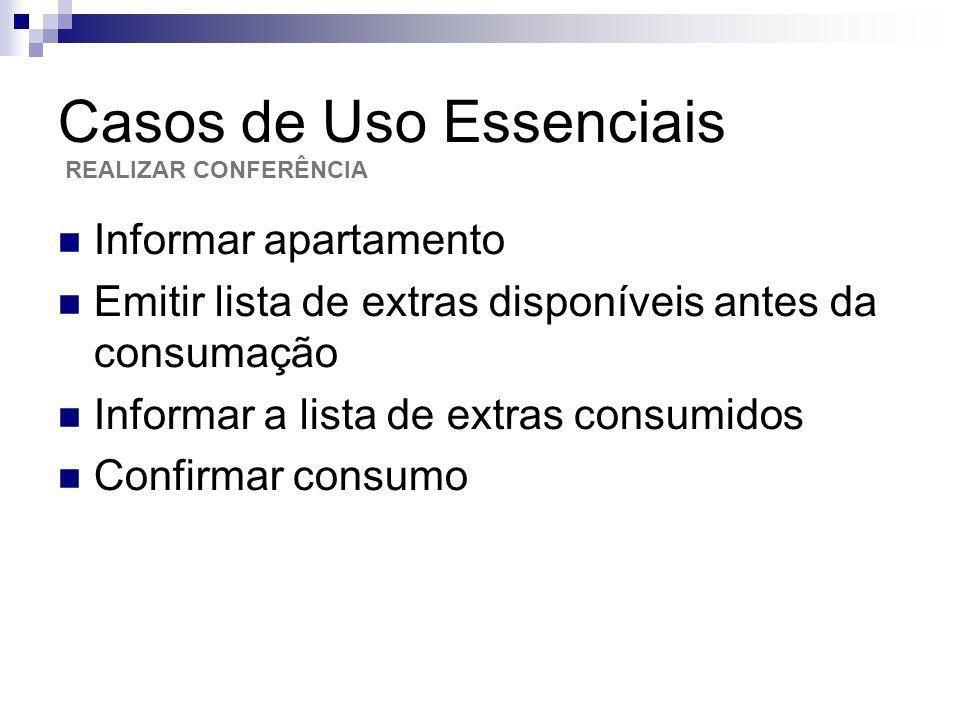 Casos de Uso Essenciais Informar apartamento Emitir lista de extras disponíveis antes da consumação Informar a lista de extras consumidos Confirmar co