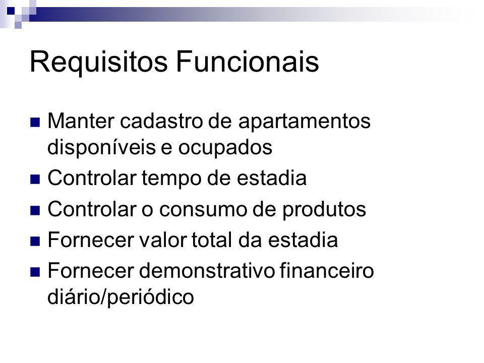 Requisitos Funcionais Manter cadastro de apartamentos disponíveis e ocupados Controlar tempo de estadia Controlar o consumo de produtos Fornecer valor
